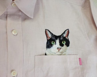 cat shirt pink linen emboidery men long sleeve