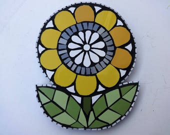 Mosaic, Yellow Flower, Mosaic Wall Art, Mosaic Flower, Mosaic Art