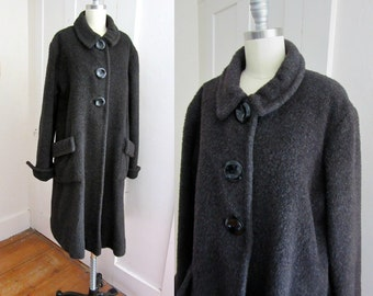 50s Wool Mohair Coat - Swing Coat - Heavy Warm Coat - Red Satin Lining - Custom Made - 3 Large Buttons - Front Pockets