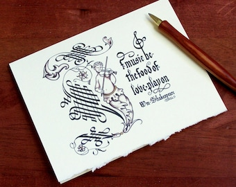 """1 CARD Shakespeare Note Card, Shakespeare Greeting Card, Calligraphy Greeting Card """"If Music Be the Food of Love"""""""