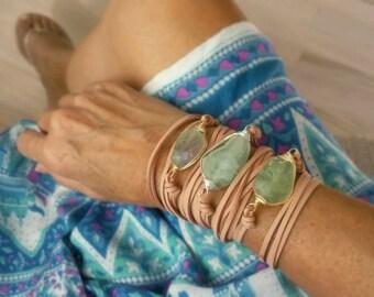Chunky Sea Green Boho Long Leather Wrap Bracelet Fluorite Gemstone Nugget