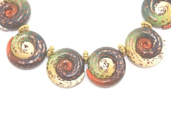 Spiral jewelry earthy Bohemian jewelry Christmas gift jewelry beads craft supply necklace DIY bracelet polymer clay beads for friendship 6pc