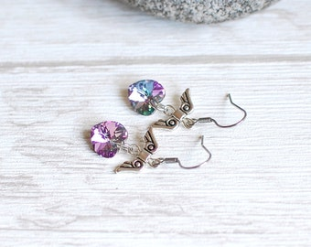 Winged Heart Earrings Swarovski Earrings Swarovski Heart Jewelry Tiny Drop Earrings Gift for Her Gift Idea Surgical Steel Choose Your Color