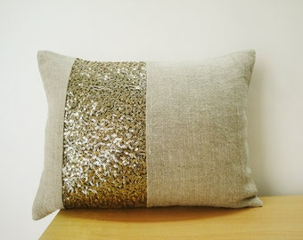 Linen Pillow with Gold Sequin Band , Linen Pillow , Holiday Decor , Throw Pillow , Decorative Pillow