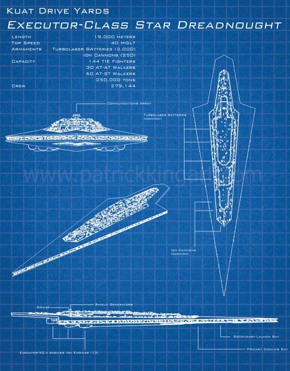 Star Wars Executor Super Star Destroyer Schematic Art Print Tie Fighter Schematic on tie advanced, tie phantom, y-wing schematic,