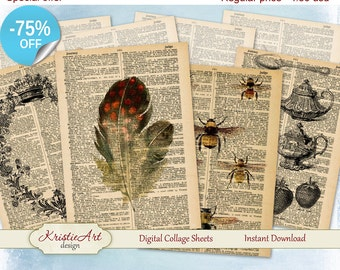 75% OFF SALE Digital Cards Set #1 - Digital Collage Sheet Greeting ATC Cards C048 Printable download tags digital image cardmaking scrapbook