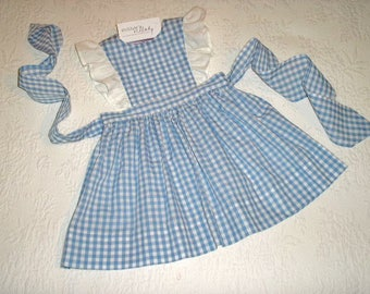 Dorothy Dress and more.  Size 12 months to size 5. Gingham Pinafore Jumper Dress with eyelet ruffles in color choice.  Made to Order.
