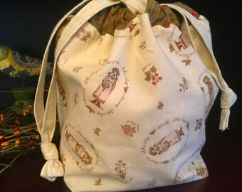 Drawstring Knitting Project Bag with inner zippered pocket, Anne Shirly (Anne of Green Gables)