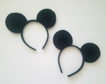 Mickey Mouse Ears Headband, Black Mouse Ears, Party Favors, DIY Craft Mouse Ears-One headband