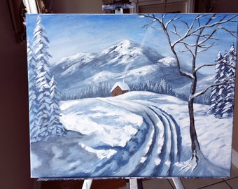 Winter Mountains Landscape painting on canvas