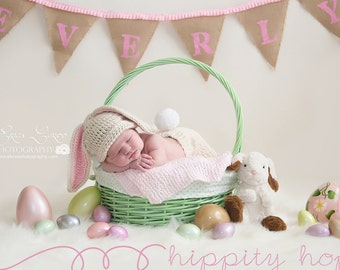 Baby Bunny Hat, Floppy Bunny Ears Crochet Hat,  Baby Girl Hat, Baby Boy Hat, Rabbit Hat, Crochet Baby Bunny Hat,  Easter Hat, MADE TO ORDER