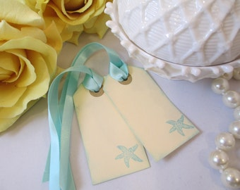 Beach Wedding Favor Tag - Destination Wedding Gift Tag - Starfish Thank You Tag - Welcome Bag Tag - DIY Custom Tag - Aqua Blue Bridal Shower