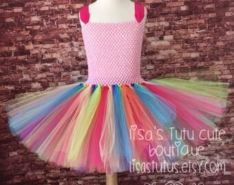 rainbow tutu dress, rainbow tutu, pink rainbow tutu, pink rainbow dress, pink rainbow tutu dress, rainbow dress, candy land tutu
