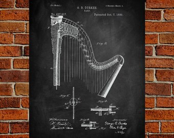 Harp  Art Print,  Patent, Harp  Vintage Art,  Blueprint,  Poster, PatentPrints, Wall Art, Decor [MU4--2A]
