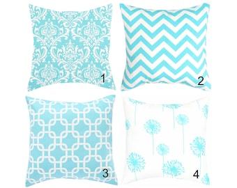 Light Blue Toss Pillow Cover Aqua Blue Throw Pillow Euro Sham Cushions Aqua Blue Pillows Blue Decorative Pillows Damask Pillows