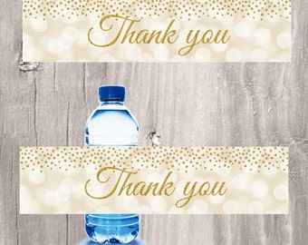 Water Bottle Labels, Gold and Ivory Confetti, Thank You Bottle Labels, Elegant Labels Favors, Instant Download, Printable Ivory and Gold