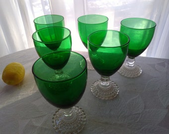 Set Of 6 Vintage Anchor Hocking  Footed 10 Oz. Water Goblets Excellent Condition Mid Century Burple