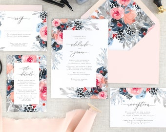 Navy Blue Wedding Invitations - Fall Wedding Invites - Floral Wedding Invitation Set - Modern Wedding Invite - Pink Wedding - Set of 10