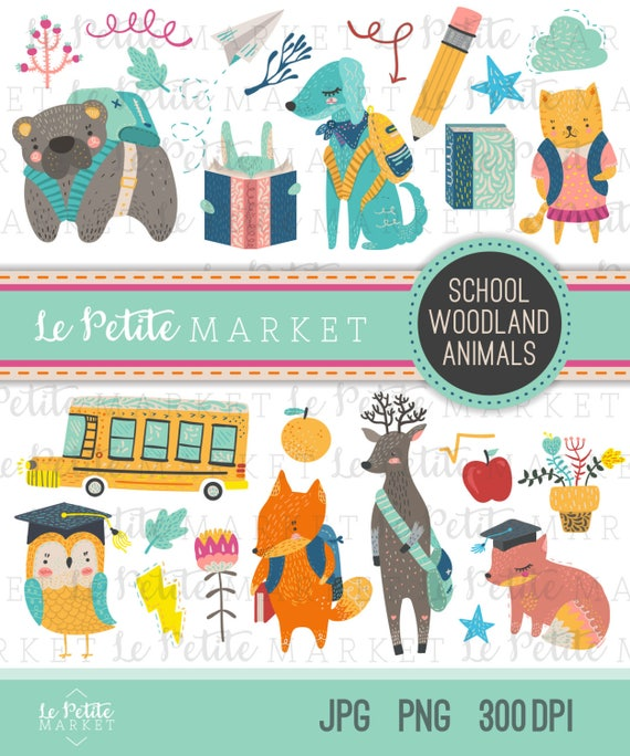 cute school animals clipart images forest animals clip art rh etsy com Cute Forest Animal Clip Art Cute Forest Animal Clip Art