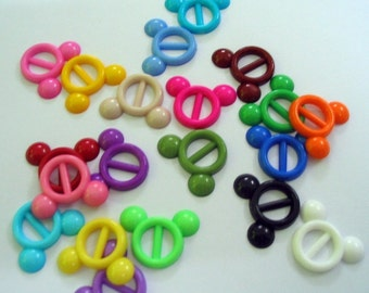 SALES Opaque tiny Micky buckle for Barbie, Blythe and dolls 20 pcs assorted color