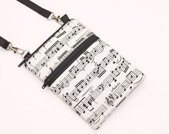 Cell Phone Bag, Samsung Galaxy S8 Crossbody, iPhone 8 Zipper Sling Bag, Smartphone Purse, Mini CrossBody Bag - music notes black white cream