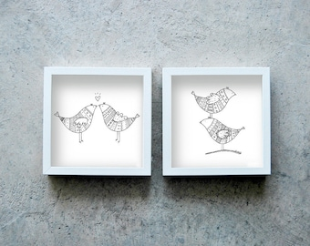 Birds prints, two pen prints, black and white art poster, print illustrations, motif drawings