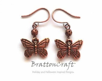 Copper Butterfly Earrings - Butterfly Earrings - Butterfly Jewelry - Bug Earrings - Spring Jewelry