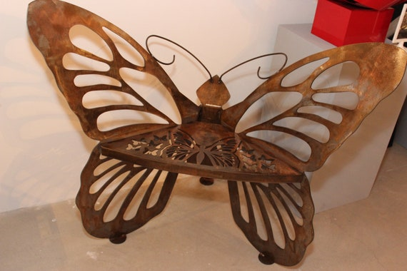 Genial Items Similar To Airbrushed Metal Butterfly Garden Chair Lawn Furniture On  Etsy