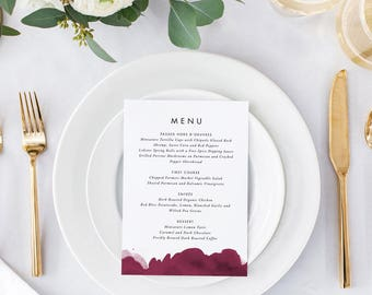 Printable Wedding Menu Printable - Modern Burgundy Wedding Menu Download -Ready to Print PDF- Menu PDF- Letter or A4 Size (Item code: P1020)