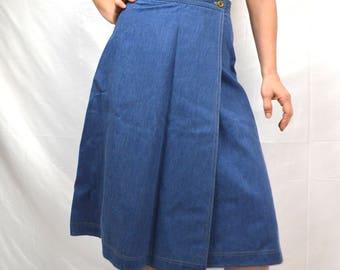 Vintage Boho Denim Wrap Around Summer Skirt - By Vera