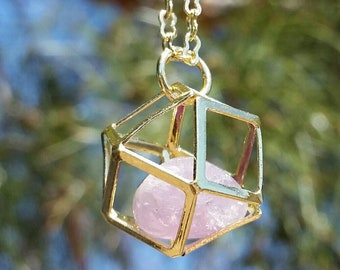 Amethyst Cuboctahedron Necklace in Gold