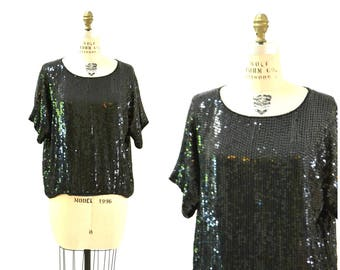 Vintage Black Sequin Shirt Size XL Plus Size// 80s Vintage Sequin Shirt Metallic Black Extra Large Flapper Disco Top