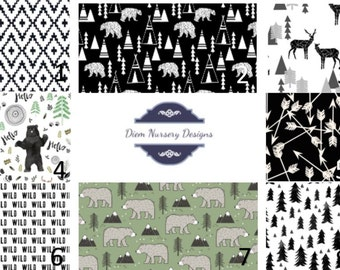 Black and White Woodland Nursery Bedding Set - Bears & Deer - Mountain Nursery Bedding - Toddler Bedding - Woodland Baby Bedding