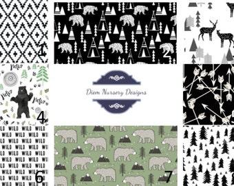 Black and White Woodland Nursery Bedding Set - Bears & Deer - Mountain Nursery Bedding - Toddler Bedding - Woodland Baby Bedding