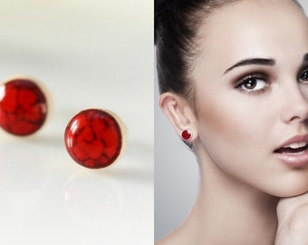 Small red stud earrings 10mm earrings Red studs round Ceramic stud earring Sterling silver 925 Small red earrings Everyday studs Red jewelry