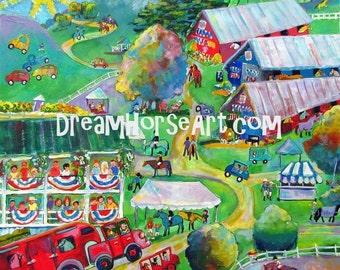 "Print from Original, 11"" x 14"" whimsical art by artist M Theresa Brown, ""At the Horse Show""  Dream Horse ArtOOAK USA"