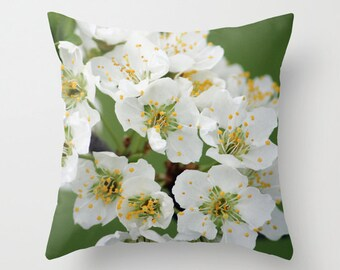 Blooming Tree, Pillow Cover, 16x16,18x18,20x20, home decoration, flowers, green, white, Yellow, floral,country living,interior design