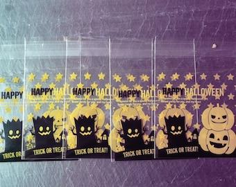 """Set of 160 plastic bags """"Happy Halloween"""" 7 x 7 cm"""