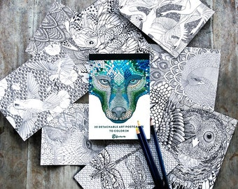 Adult Coloring Book, Adult Coloring Pages, Mandala Coloring Therapy, Wolf Art Postcards, Coloring Cards, Animal Prints, Hand Painted Cards