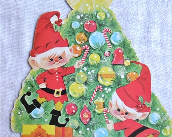 Vintage Christmas Decoration - Elf and Tree Die Cut