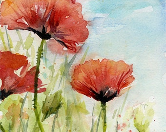 Red Poppies Watercolor Painting Poppies Art Print Red Flowers Poppy Field Floral Painting Poppy Wall Art Blue Sky Spring Flowers Art & Poppies Watercolor Poppy Print Poppies Prints Red Poppy