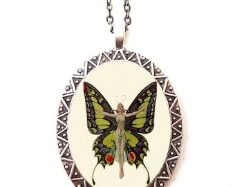 Flapper Butterfly Necklace Pendant Silver Tone - Art Deco Jazz Age Roaring 20s Butterflies