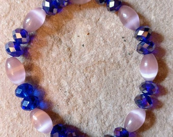 Pink cats eye oval beaded bracelet with stunning 5x8mm sapphire faceted beads