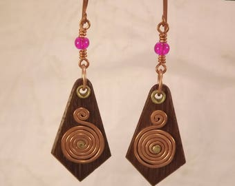 Wood with Copper Spiral Earrings