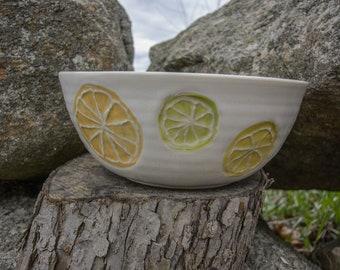 Cricket Sonata Ceramics: Large White Citrus/Fruit Bowl, Wheel Thrown, Handmade
