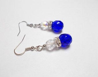 Dangling earrings, Bohemian blue cobalt, crystal, rhinestone