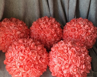 "Coral Kissing Balls Foam Rose Pomanders Fake Flower Balls 11"" Artificial Flower Balls For Wedding Decoration Centerpieces"