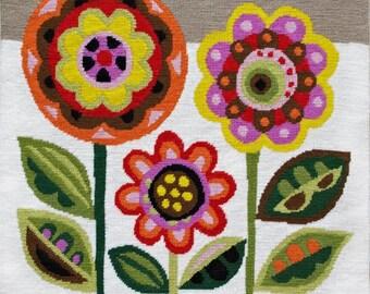 SALE Mid-Century Flowers needlepoint