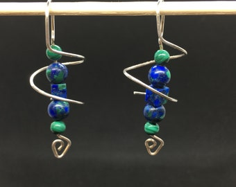 Sterling silver semi precious spiral earrings