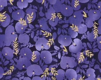 FAT QUARTERS- Cotton Fabric- Flower Quilting Fabric- Floral Fabric- Purple Gold Fabric, Woven Fabric- Purple Floral Fabric- Flower Fabric